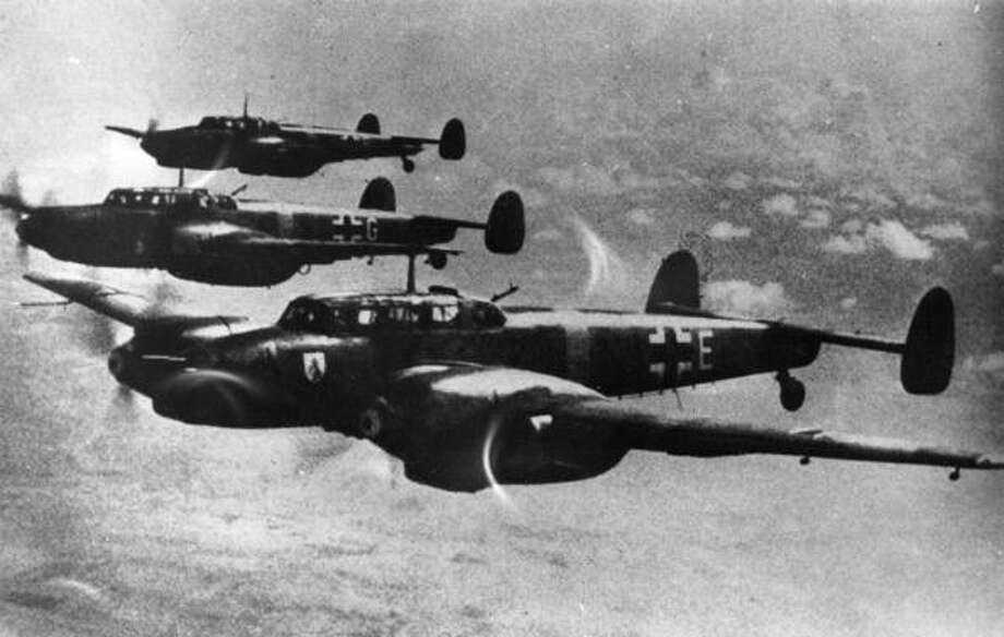 A squadron of German Messerschmitt 110 fighter-bombers in formation. Photo: Keystone, Getty Images / Hulton Archive