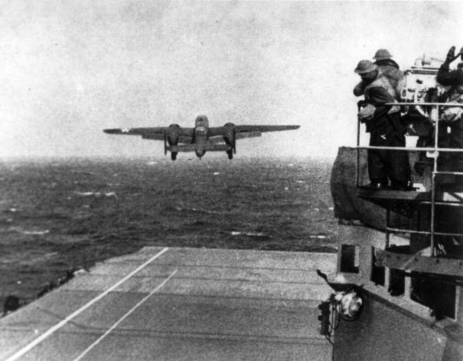 A B-25 bomber taking off from the USS Hornet on a bombing raid of Tokyo. Photo: MPI, Getty Images / Archive Photos