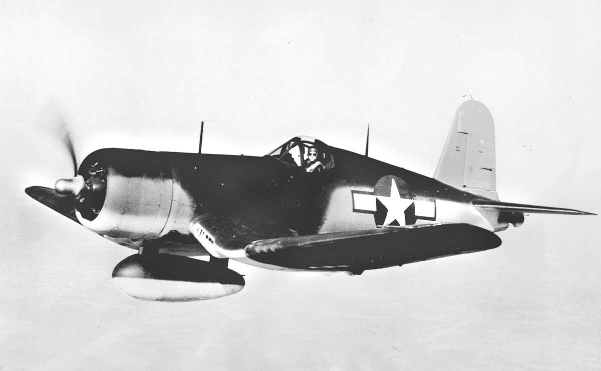 A Chance Vought F4U-1 Corsair, a Navy fighter plane, is shown in an undated photo released by the U.S. Navy Airships.