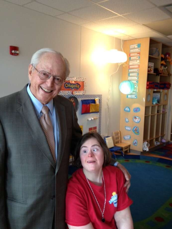 John Duncan with Kristin Huckaby who  is a supported employee who works as the classroom assistant in the three-year-old room at The Brenda and John Duncan Rise School of Houston. Photo: Joe Holley, Houston Chronicle / Houston Chronicle
