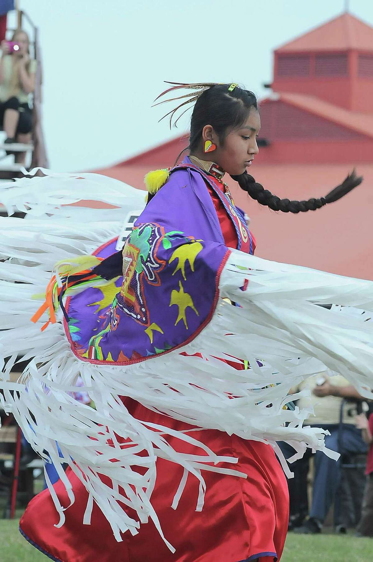 Alexis Gaines (15) from South Grand Prairie, Texas performs during the 24th Annual Texas Championship Pow Wow dance competition at Traders Village.