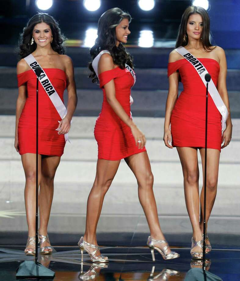 From left, Miss Costa Rica Fabiana Granados, Miss Brazil Jakelyne Oliveira and Miss Croatia Melita Fabceic participate at the 2013 Miss Universe pageant in Moscow, Russia, on Saturday, Nov. 9, 2013. Photo: Pavel Golovkin, AP / AP