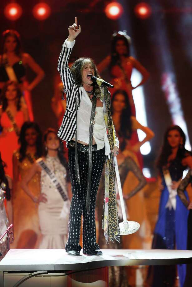 Aerosmith's frontman and pageant judge Steven Tyler performs during the 2013 Miss Universe pageant in Moscow, Russia, on Saturday, Nov. 9, 2013. Gabriela Isler won the Miss Universe 2013 title. Photo: Pavel Golovkin, AP / AP