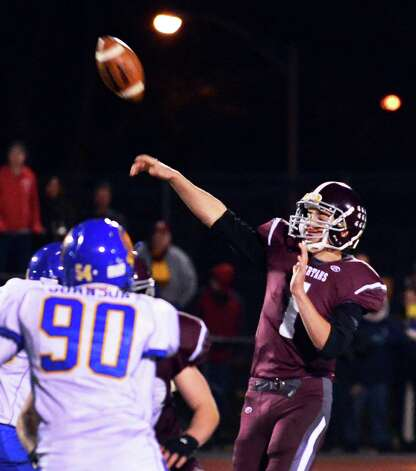 Burnt Hills QB #1 John Clayton throws a pass during the Class A Super Bowl against Queensbury at Shenendehowa High School Saturday Nov. 9, 2013, in Clifton Park, NY.  (John Carl D'Annibale / Times Union) Photo: John Carl D'Annibale / 00024545A