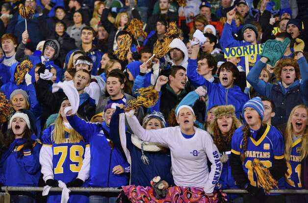 Queensbury fans cheer their team to victory over Burnt Hills in the Class A Super Bowl at Shenendehowa High School Saturday Nov. 9, 2013, in Clifton Park, NY.  (John Carl D'Annibale / Times Union) Photo: John Carl D'Annibale / 00024545A