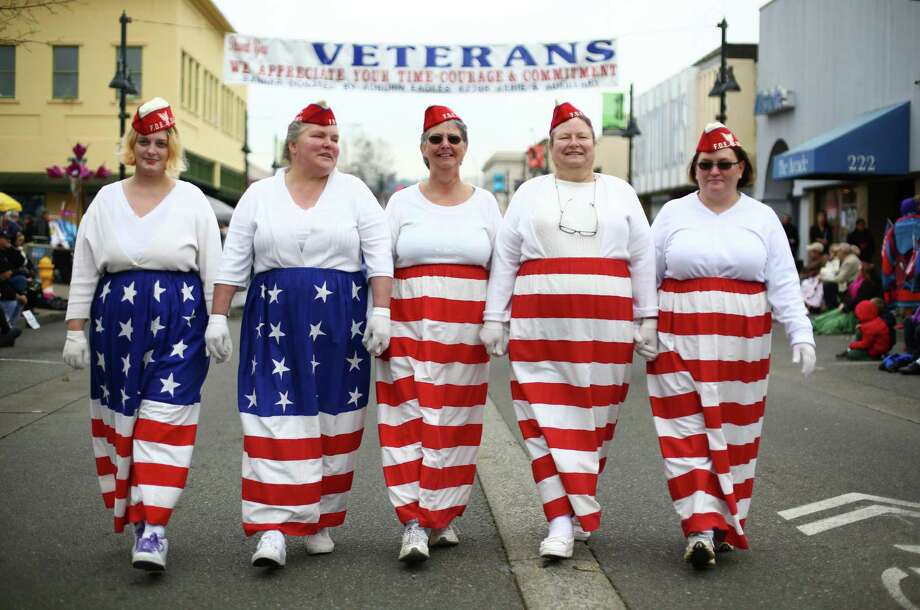 Members of the White Center Fraternal Order of Eagles march during the 48th annual Auburn Veterans Day Parade. Photo: JOSHUA TRUJILLO, SEATTLEPI.COM / SEATTLEPI.COM