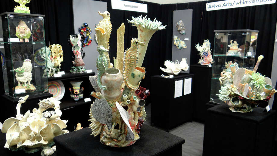 Sea-themed porcelain sculptures by Ayenne Applebaum, of New Jersey and Florida, displayed at the 38th annual CraftWestport. Photo: Mike Lauterborn / Westport News contributed