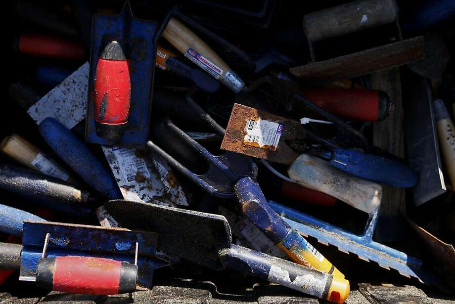 A variety of hand tools are seen in a bin during the Leap Sand Castle Competition at Ocean Beach in San Francisco, Calif. on Saturday, Nov. 9, 2013. Photo: Raphael Kluzniok, The Chronicle