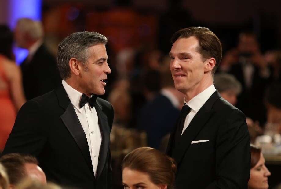 Filmmaker George Clooney (L) and actor Benedict Cumberbatch attend the 2013 BAFTA LA Jaguar Britannia Awards presented by BBC America at The Beverly Hilton Hotel on November 9, 2013 in Beverly Hills, California. Photo: Christopher Polk/BAFTA LA, (Photo By Christopher Polk/BAFTA LA/Getty Images For BAFTA LA)