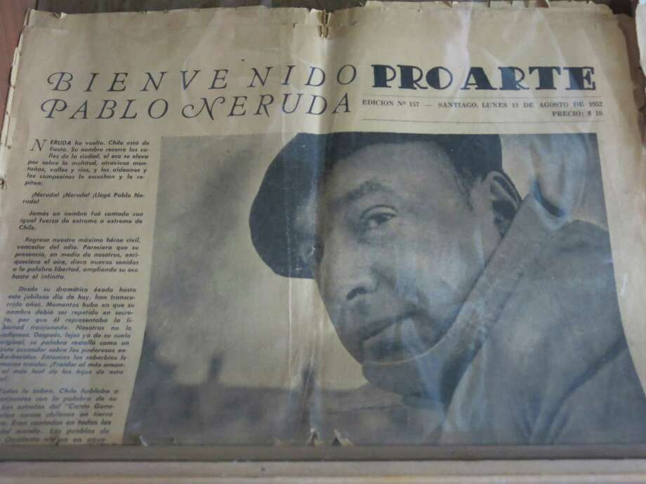 The copy of an old newspaper featuring Chile's Nobel-Prize winning poet Pablo Neruda is seen in his home in Santiago, Chile, Friday, Nov. 8, 2013. The four-decade mystery of whether Neruda was poisoned was seemingly cleared up on Friday, when forensic test results showed no chemical agents in his bones. But his family and driver were not satisfied and said they'll request more proof. Photo: Luis Andres Henao, AP / AP
