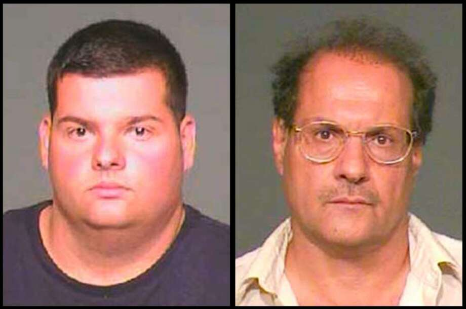 Left to right, Angelo Ciullo, 25, and his father, Pasquale Ciullo, 55, both of Byram, are shown here in Greenwich police department photos.  Both men are on trial for an incident which occurred on July 4, 2007 at their Byram Shore Road home involving a property dispute with day laborers who were working for a neighbor of the Ciullo's. Pasquale Ciullo is on trial for first-degree assault, three counts of unlawful restraint and one of weapons in a motor vehicle. Angelo Ciullo is on trial for two counts of unlawful restraint and one count of weapons in a motor vehicle. Photo: Contributed Photo / Stamford Advocate Contributed