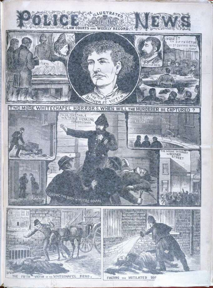 Two more Whitechapel murders 'Two more Whitechapel horrors. When will the murderer be captured? '. 'The Berner Street victim '. Illustrations relating to the Whitechapel or 'Jack the Ripper 'murders. Image taken from The Illustrated Police News. Law courts and weekly record. Originally published/produced in London October 6 1888. Photo: British Library/Robana, Getty Images / ©The British Library Board