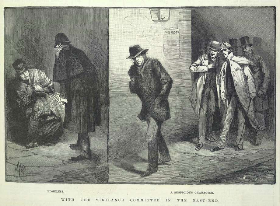 Suspicious characters 'With the vigilance committee in the East End '. 'Homeless '. 'A suspicious character '. Illustrations made during the time of the Whitechapel or 'Jack the Ripper 'murders. Image taken from Illustrated London News. Originally published/produced in London 1888. Photo: British Library/Robana, Getty Images / ©The British Library Board