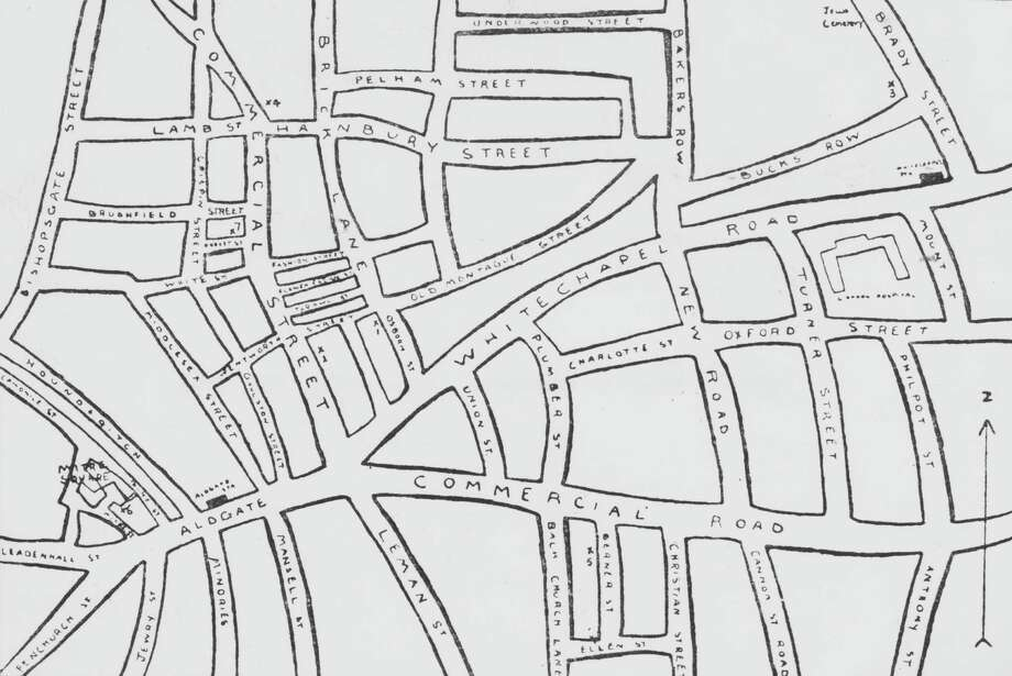 circa 1891: A map of Whitechapel in east London, where eleven women were killed between 1888 and 1891, and the murders often attributed to unidentified serial killer Jack the Ripper. Photo: Hulton Archive, Getty Images / 2011 Getty Images
