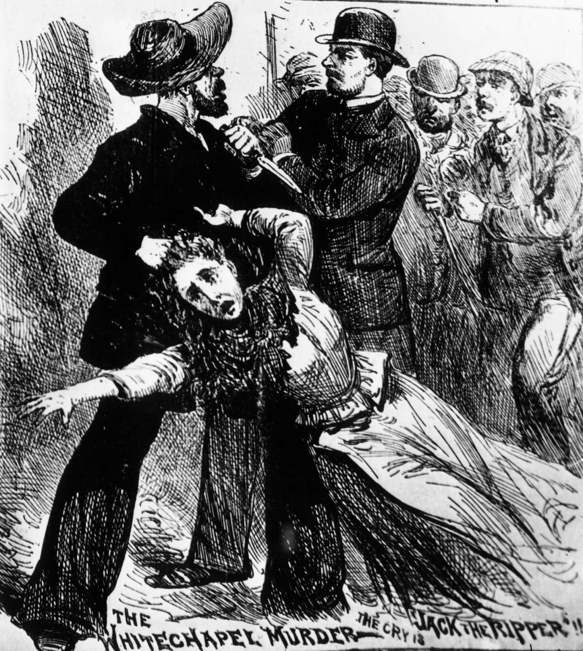 1889: A fanciful engraving showing 'Jack The Ripper', the east end Murderer of prostitutes in the nineteenth century, being caught red-handed, grasping one of his victims by the hair and holding a knife. The caption reads : 'The Whitechapel murder, The cry is Jack The Ripper !!'.