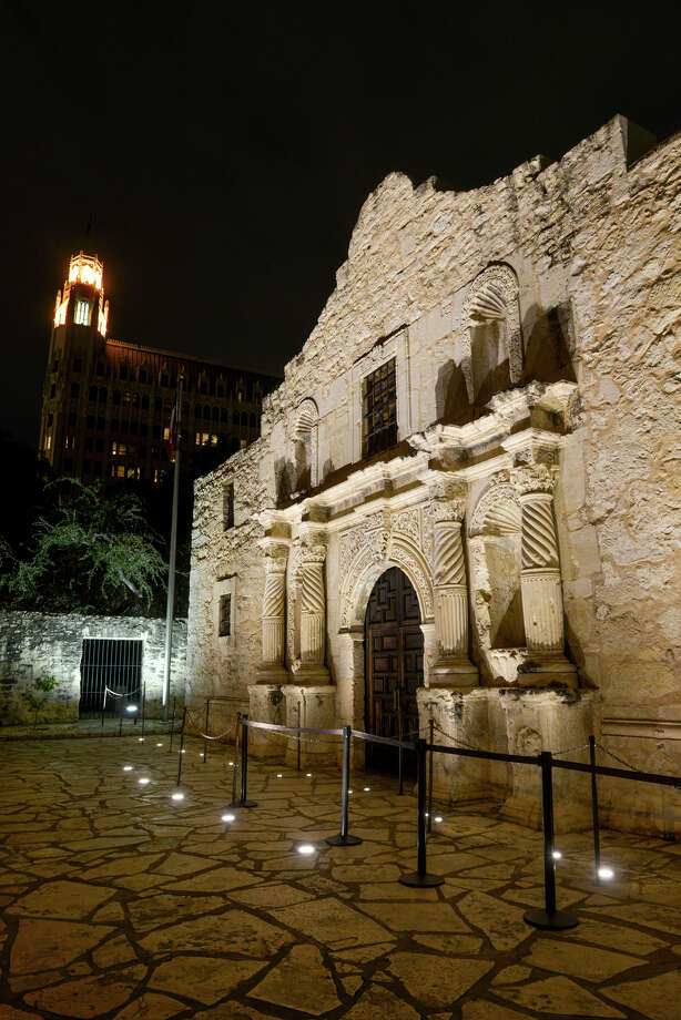 A new energy efficient LED lighting system has recently been intalled in the sidewalk in front of the Shrine at the Alamo Photo: Robin Jerstad, For The Express-News / San Antonio Express-News