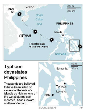 Map locates the Samar, Leyte and Cebu Islands of the Philippines, and the city of Tacloban, the hardest-hit areas; 2c x 5.5 inches; with ; SBM; ETA 3:30 p.m.; 2c x 5 1/2 inches; 96.3 mm x 139 mm; Photo: S.mccrory, AP / AP