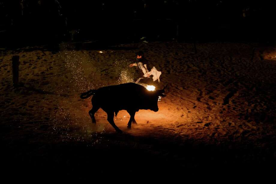 "A fire bull chases a reveler during the 'Toro de Jubilo' Fire Bull Festival in Medinaceli, Spain, in the early hours of Sunday, Nov. 10, 2013. Fire bull Festival ""Toro de Jubilo"" that takes place in the main square of Medinaceli is an ancient tradition from the bronze age. During the event a bull is tied to a pylon and flammable balls attached to the bull's horns are set on fire before the animal released. Revelers dodge the bull when it comes close until the flammable material is consumed. The bull is covered with a thick layer of mud on the back and face to protect it from burns. Photo: Andres Kudacki, AP / AP"