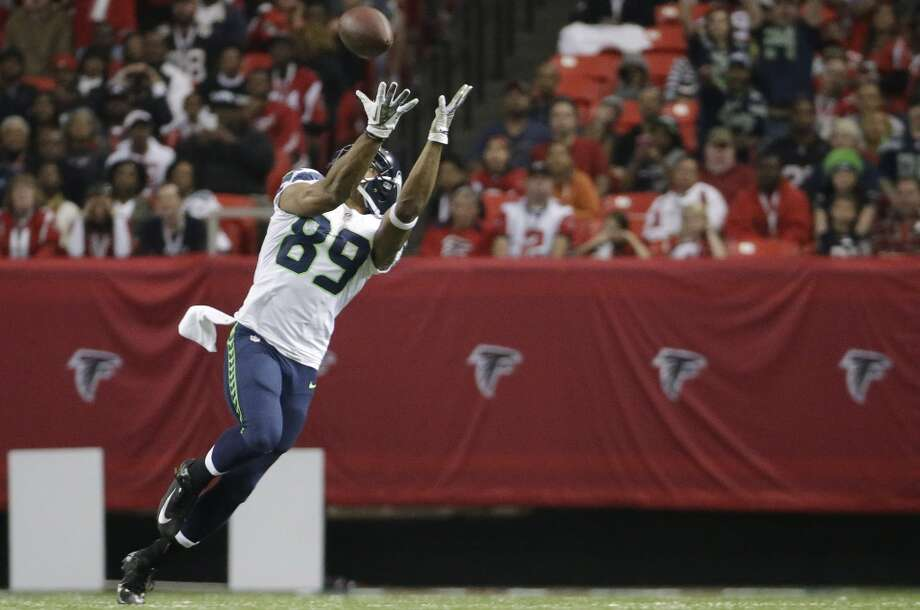 Seattle Seahawks wide receiver Doug Baldwin (89) makes a catch against the Atlanta Falcons during the second half of an NFL football game, Sunday, Nov. 10, 2013, in Atlanta. (AP Photo/David Goldman) Photo: AP