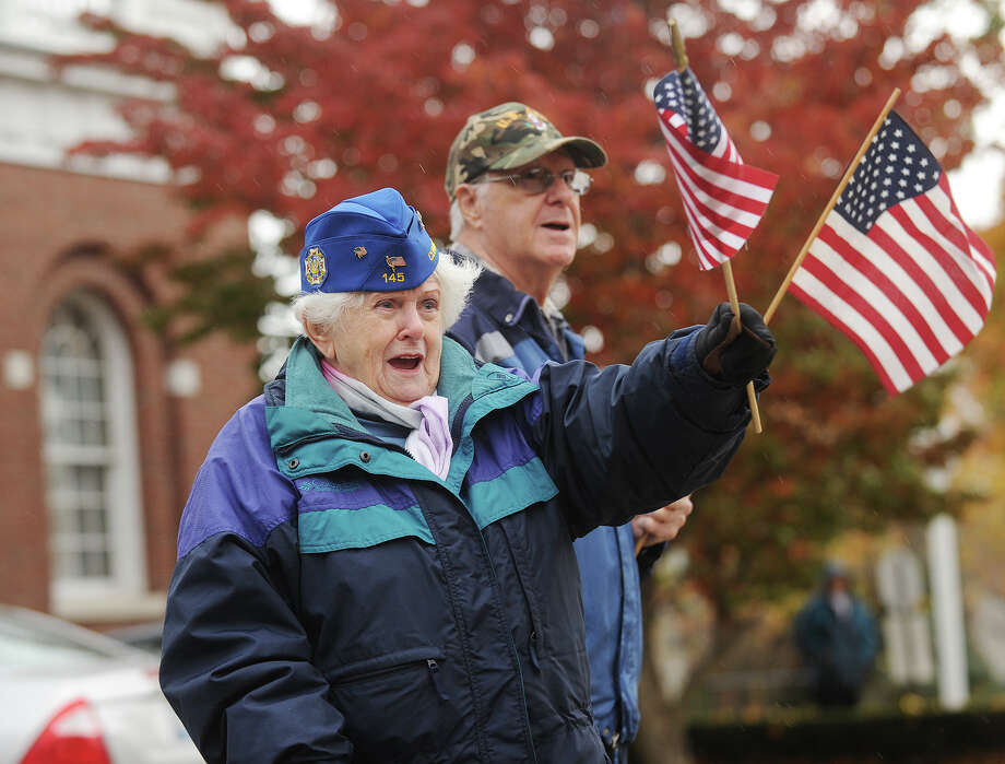 Alice Beket and Frank Melanson. The Veteran's Day Parade in downtown Milford, Conn. on Sunday, November 10, 2013. Photo: Brian A. Pounds / Connecticut Post