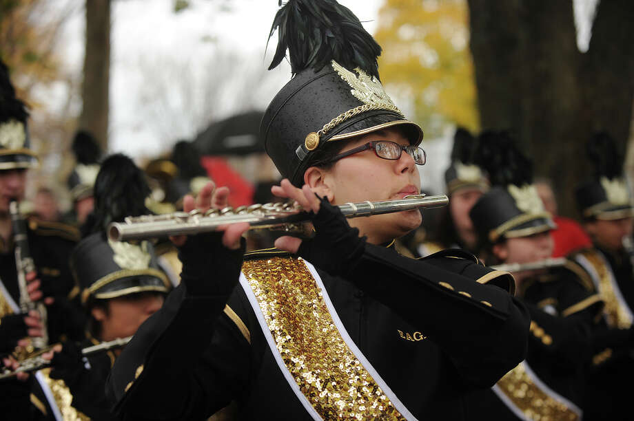 The Jonathan Law High School Marching Band. The Veteran's Day Parade in downtown Milford, Conn. on Sunday, November 10, 2013. Photo: Brian A. Pounds / Connecticut Post