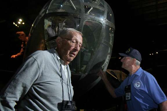 In September, former B-25 pilot Paul Young and former crewman Bernie Peters, right, reminisced in front of a B-25 bomber in the U.S. Air Force Museum at Wright Patterson Air Force in Dayton, Ohio during a reunion of the 57th Bomb Wing. When Young came home from World War II, there were 16 million veterans like him who returned to work, raise families and build lives.