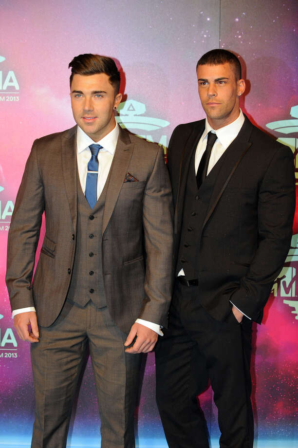 James Tindale (L) and Jay Gardner pose as they arrive to attend the MTV European Music Awards (EMA) 2013 at the Ziggo Dome on November 10, 2013 in Amsterdam, The Netherlands. Photo: JOHN THYS, Getty Images / AFP