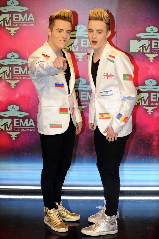 John and Edward Grimes of Irish duo Jedward pose as they arrive to attend the MTV European Music Awards (EMA) 2013 at the Ziggo Dome on November 10, 2013 in Amsterdam, The Netherlands. Photo: JOHN THYS, Getty Images / AFP
