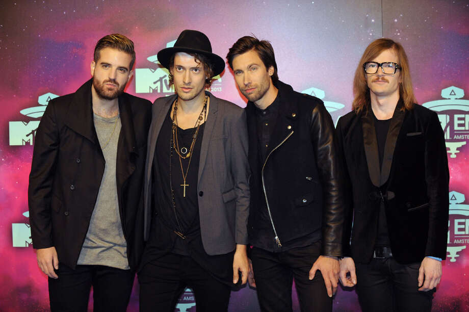 (From LtoR) Casper Starreveld, Eli Yousef, Niles Vanderberg and Jan Haker of Dutch rock band Kensington pose as they arrive to attend the MTV European Music Awards (EMA) 2013 at the Ziggo Dome on November 10, 2013 in Amsterdam, The Netherlands. Photo: JOHN THYS, Getty Images / AFP