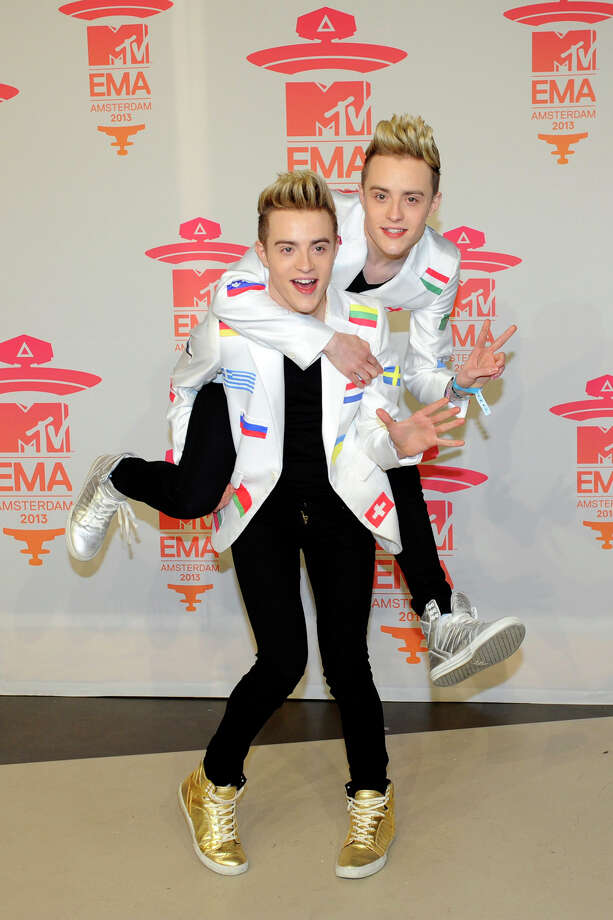 John and Edward Grimes of Irish duo Jedward pose during the MTV European Music Awards (EMA) 2013 at the Ziggo Dome on November 10, 2013 in Amsterdam, The Netherlands. Photo: JOHN THYS, AFP/Getty Images / AFP