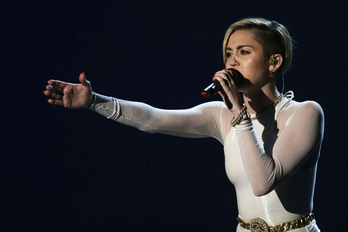 Miley Cyrus performs at the 2013 MTV Europe Music Awards in Amsterdam, Netherlands, Sunday, Nov. 10, 2013.