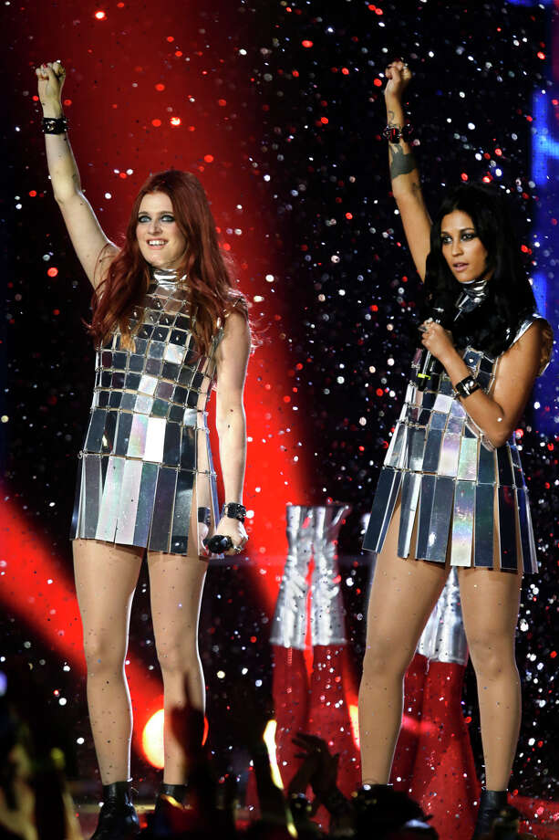 Carolina Hjelt, left, and Aino Jawo from the band Icona Pop perform at the 2013 MTV Europe Music Awards in Amsterdam, Netherlands, Sunday, Nov. 10, 2013. Photo: Peter Dejong, Associated Press / AP
