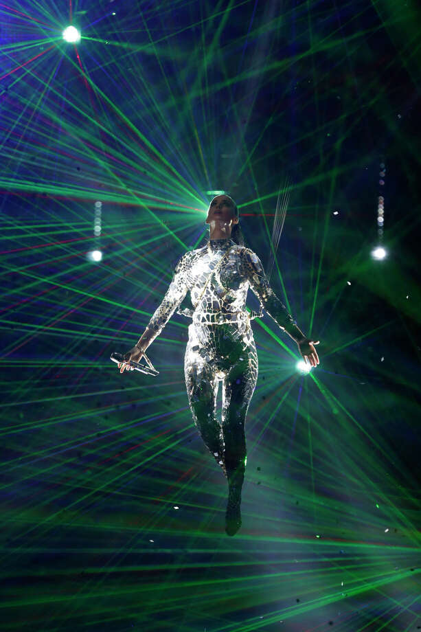 Katy Perry, suspended by cables performs at the 2013 MTV Europe Music Awards in Amsterdam, Netherlands, Sunday, Nov. 10, 2013. Photo: Peter Dejong, Associated Press / AP