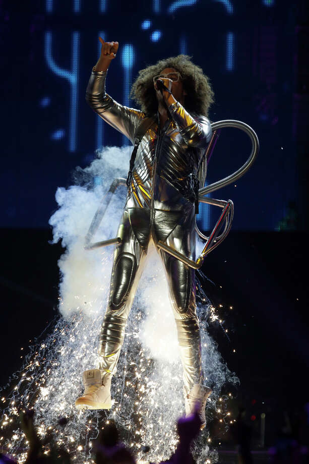 Redfoo is lifted by cables as he performs at the 2013 MTV Europe Music Awards in Amsterdam, Netherlands, Sunday, Nov. 10, 2013. Photo: Peter Dejong, Associated Press / AP