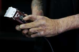 """Emory """"Em"""" Waite maintains a prized set of clippers in his shop """"The Em's Barber Shop"""" in San Francisco, Calif."""