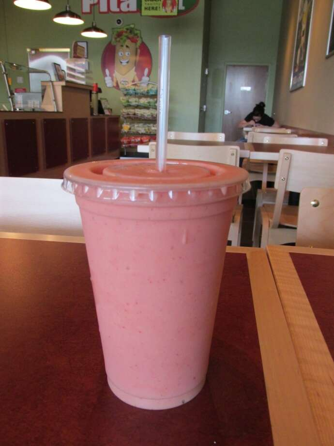 Pita Pit's Banana Very Berry smoothie, made with             vanilla yogurt, orange juice, bananas and strawberries. Photo: Cat5