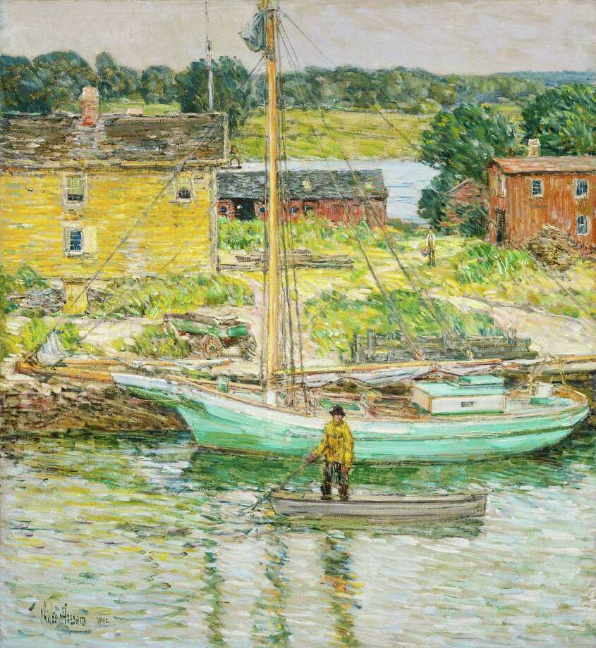 "Childe Hassam's ""Oyster Sloop, Cos Cob, an oil on canvas, is among the art, artifacts, objects, video, interactive displays and other items that make up the exhibition, ""Oysters, Pearls of Long Island Sound,"" which is at the Bruce Museum in Greenwich, Conn., until March. National Gallery of Art/Ailsa Mellon Bruce Collection Photo: Contributed Photo / Stamford Advocate Contributed"