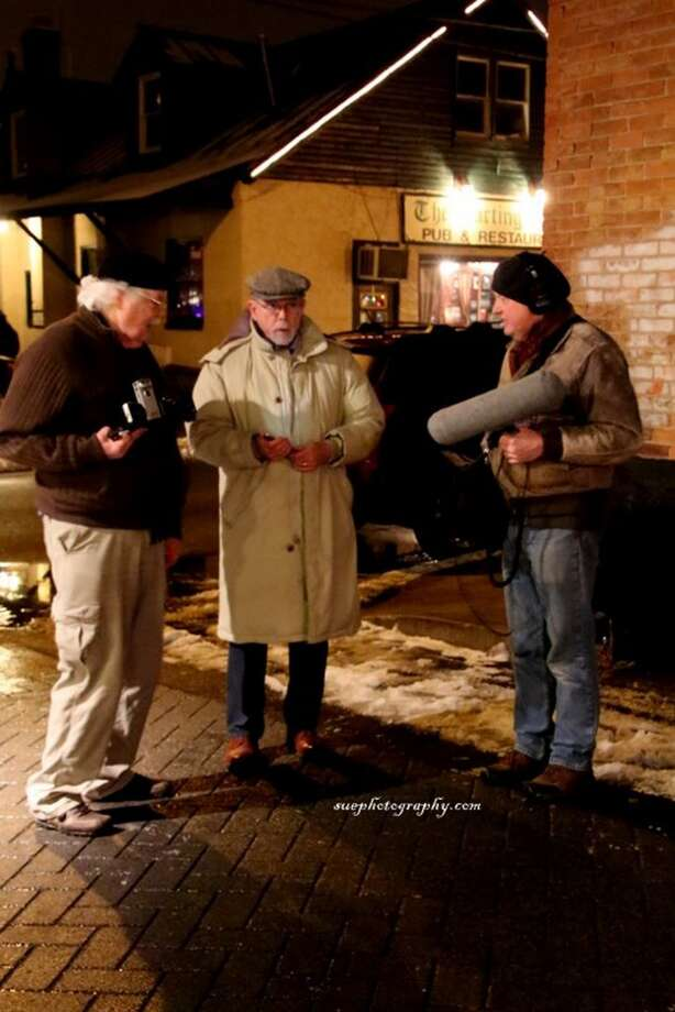 William Sanderson in Saratoga with director Roger Wyatt, left, and sound engineer Keith Dayer, right (photo by Sue Clark)