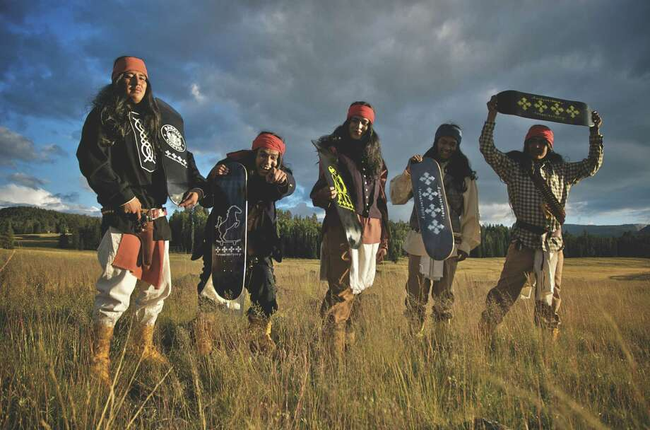4-Wheel Warpony skate team, 2008. Founded by filmmaker Dustinn Craig, who is White Mountain Apache and Navajo; from left to right, White Mountain Apache skaters Armonyo Hume, Jess Michael Smith, Aloysius Henry, Ronnie Altaha and Lee Nash. Photo: Smithsonian's National Museum Of
