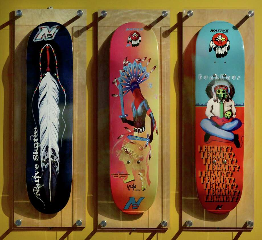Decks left to right, Spirit Feather by Traci Rabbit for Native Skates, Apache Mountain Spirit Dancer by Joe Yazzie for Native Skates and Legacy by Bunky Echo-Hawk for Native Skates.  Ramp it Up, a Smithsonian traveling exhibit highlights Native American and Native Hawaiian skateboarding culture.  Photo: BOB OWEN, San Antonio Express-News / © 2012 San Antonio Express-News