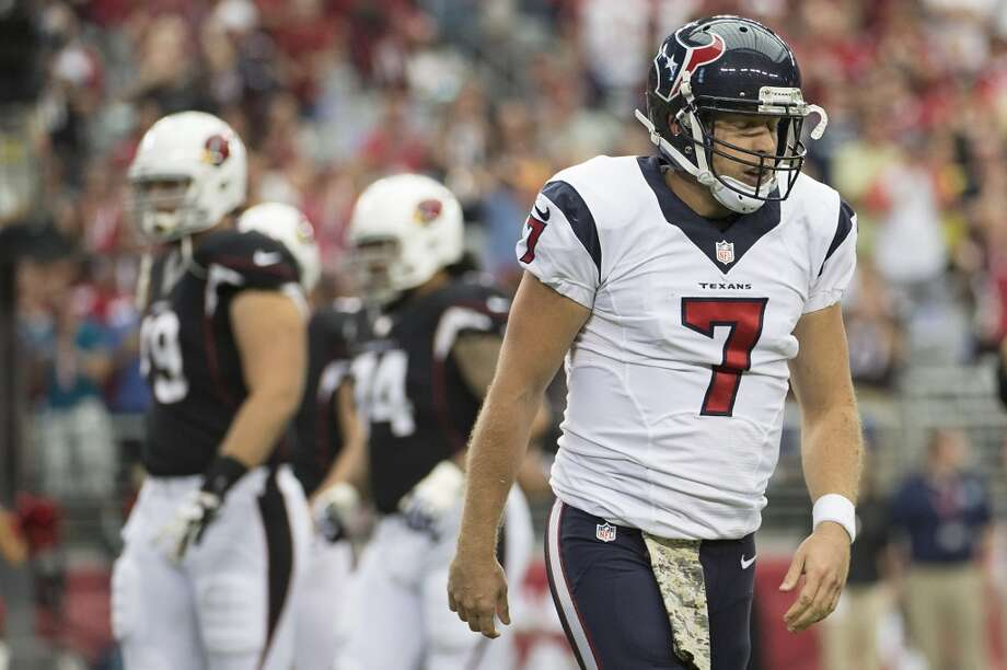 Texans quarterback Case Keenum reacts after losing a fumble against the Cardinals. Photo: Smiley N. Pool, Houston Chronicle