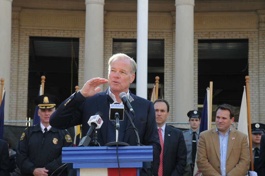 Tom Foley speaks as the Greenwich American Legion hosts a Veteran's Day ceremony at the war monument on Greenwich Avenue in Greenwich, Conn., Nov. 11, 2013. Photo: Keelin Daly, Contributed / Stamford Advocate Freelance