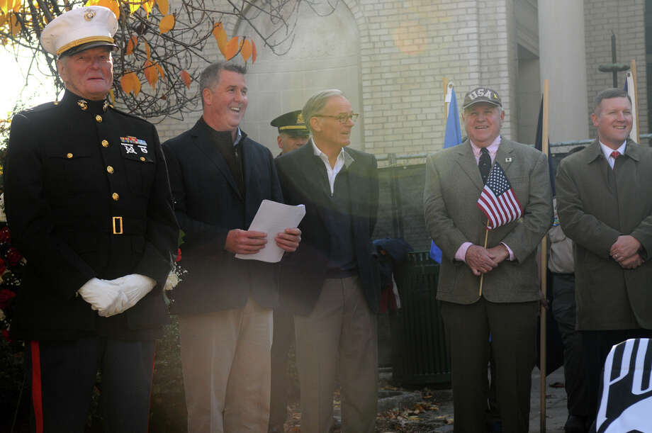 The Greenwich American Legion hosts a Veteran's Day ceremony at the war monument on Greenwich Avenue in Greenwich, Conn., Nov. 11, 2013. Photo: Keelin Daly, Contributed / Stamford Advocate Freelance