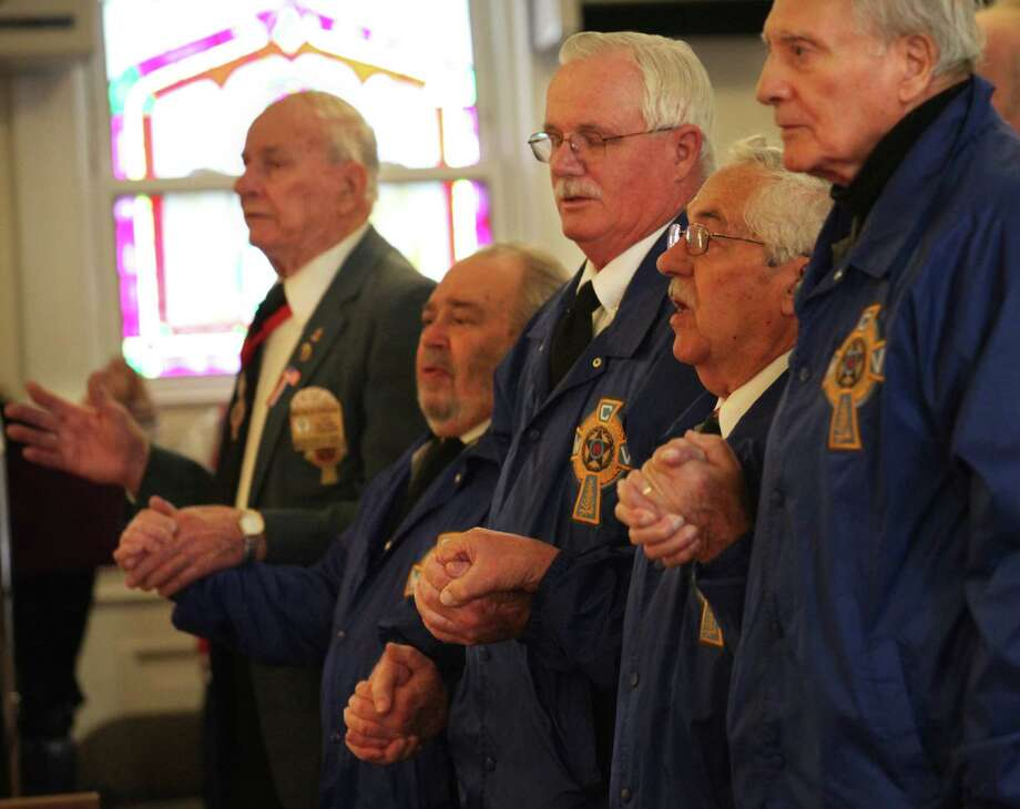 Catholic War Veterans Post 1466 attend the fourth annual Veterans Day Mass at St Margaret Shrine in Bridgeport, Conn.  on Monday,  November 11, 2013. Photo: BK Angeletti, B.K. Angeletti / Connecticut Post freelance B.K. Angeletti
