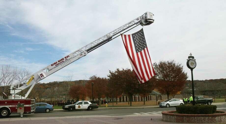 Shelton celebrates a Veterans Day ceremony at Veterans Memorial Park on Monday, Nov.11, 213. Photo: BK Angeletti, B.K. Angeletti / Connecticut Post freelance B.K. Angeletti