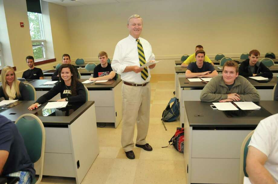 Douglas Lonnstrom, a professor of finance and statistics at Siena College, and his students.