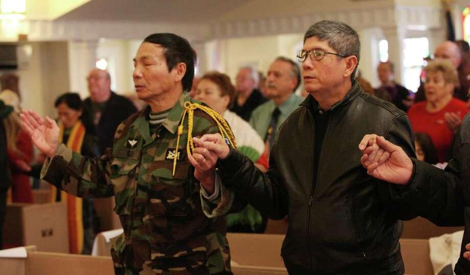 St Margaret Shrine holds its fourth annual Veterans Day Mass in Bridgeport, Conn.  on Monday,  November 11, 2013. Photo: BK Angeletti, B.K. Angeletti / Connecticut Post freelance B.K. Angeletti