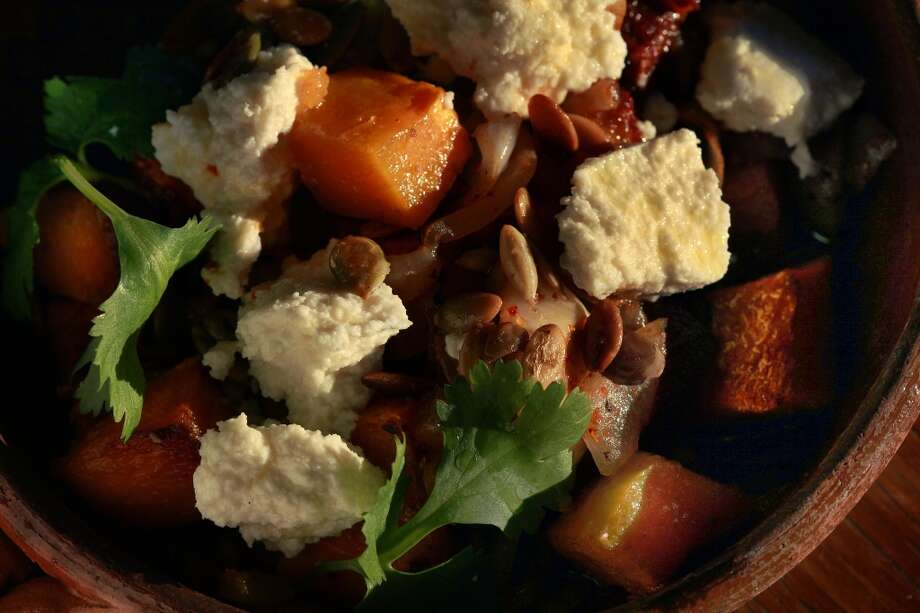 Roasted Butternut Squash With Salsa Cascabel & Queso Fresco by chef Dominica Rice in Oakland. Photo: Liz Hafalia, The Chronicle
