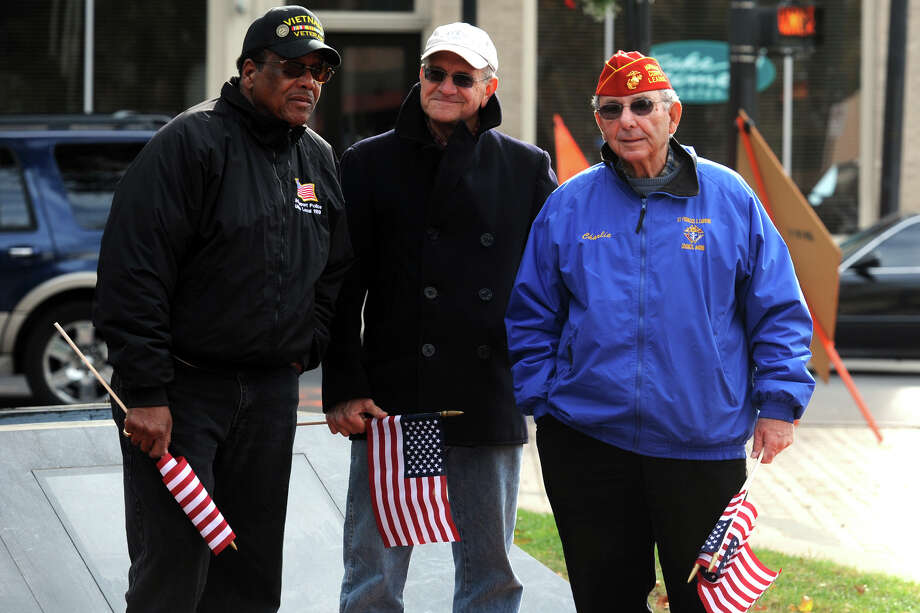 Veterans Day ceremony held at the Col. Mucci Memorial Green, in Bridgeport, Conn. Nov. 11, 2013. Photo: Ned Gerard / Connecticut Post