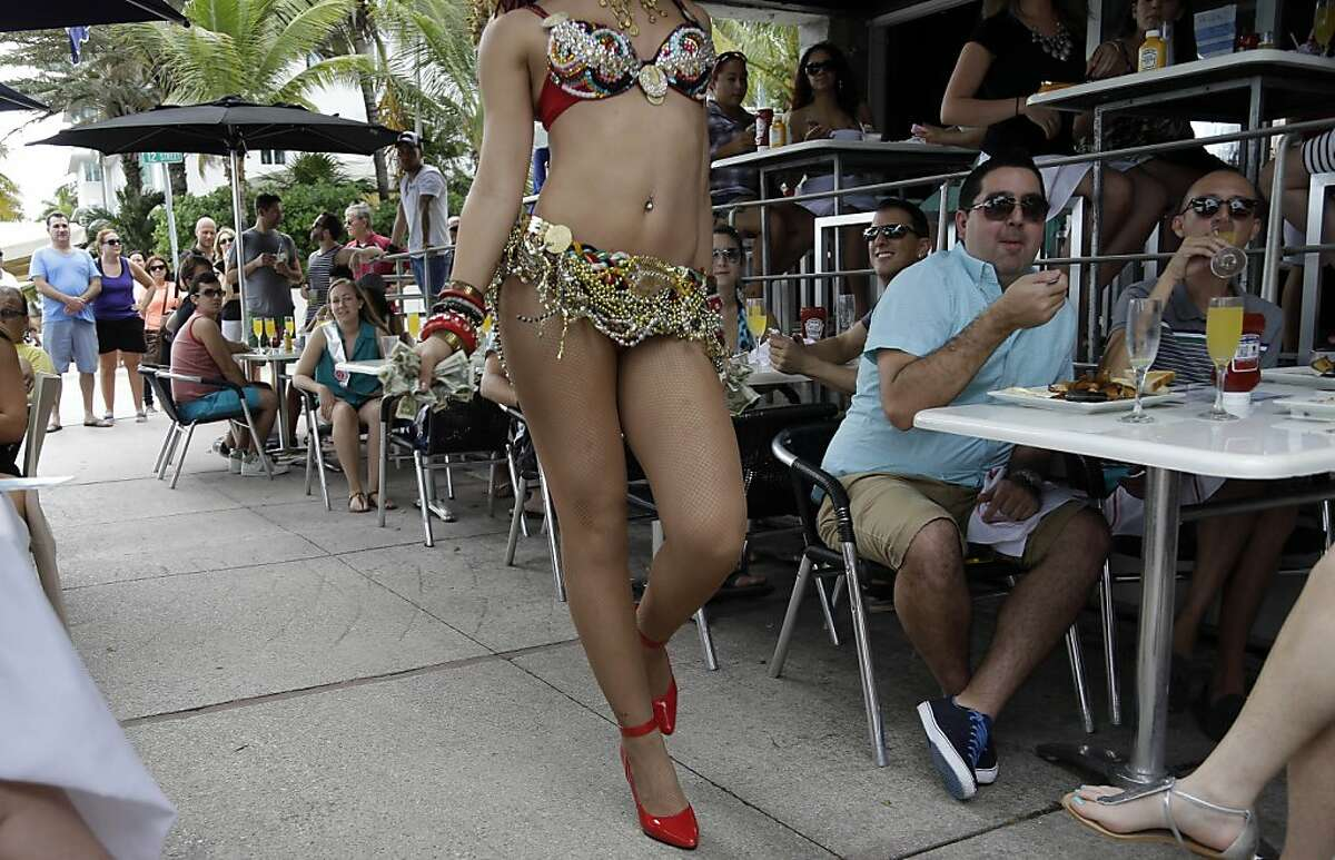 Queen of the Mimosas: At the Palace South Beach restaurant's Sunday brunch in Miami Beach, diners not only tip their waiter but also the floor entertainment, who goes by the stage name T.lo Ivy (a.k.a Tony Llerena).